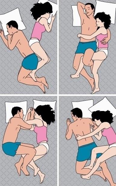 Infografía: 4 posturas más comunes para dormir en pareja