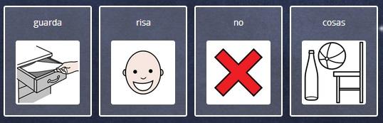 Guarda risas, no cosas, frase con pictogramas