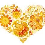 Fondo de pantalla corazón de flores amarillas