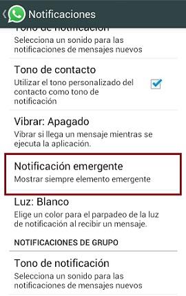 Notificación emergente WhatsApp