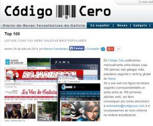 Top 100 código cero webs más populares Galicia