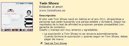 Twin Shoes recomendada por la Gran Guía de Sitios de Encuentros