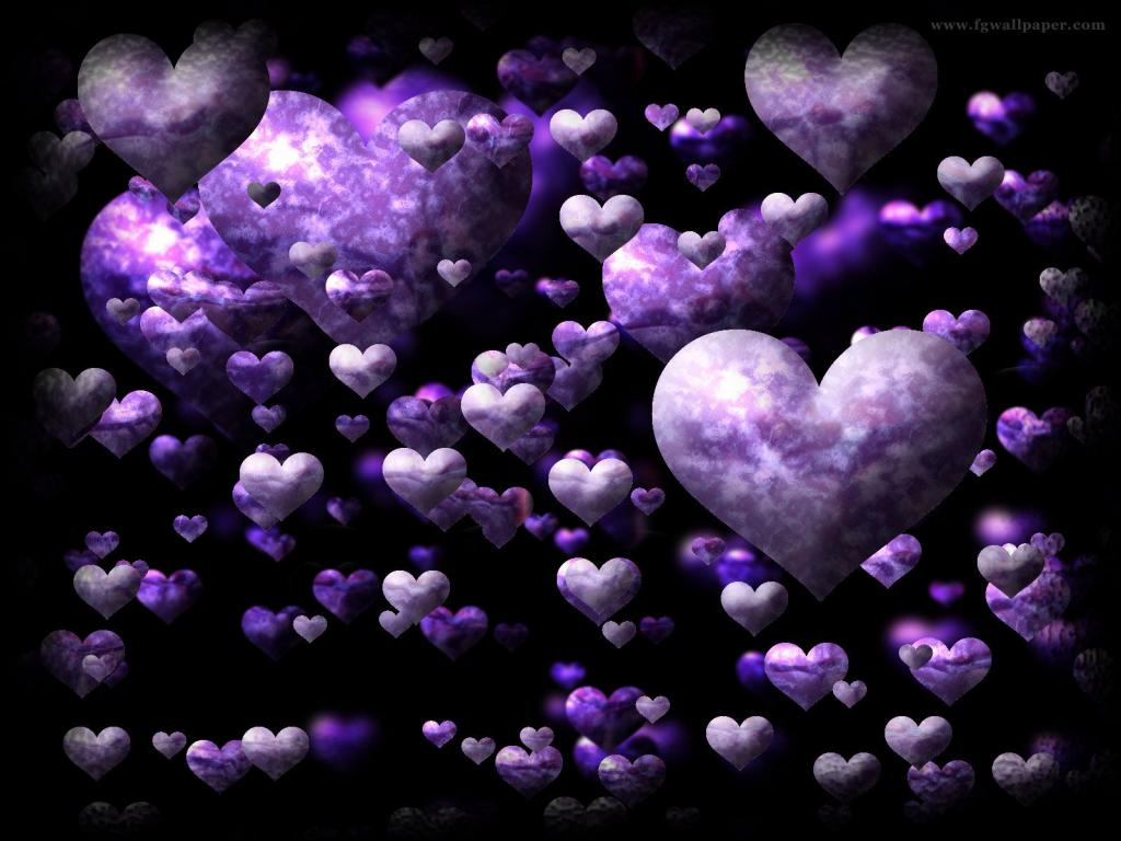 Purple And Black Hearts Wallpaper: Love Wallpapers 1024×768