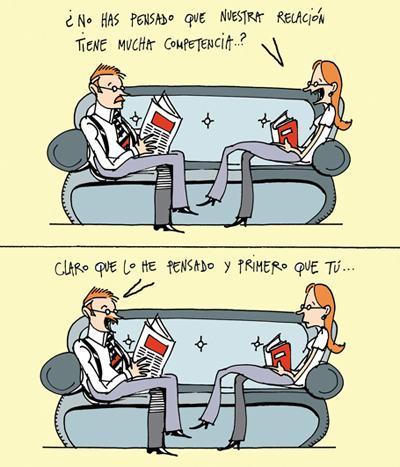 Viñeta de humor Competencia en la pareja