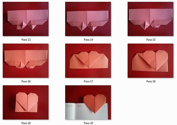 Pasos del 13-20 marcapáginas de corazón
