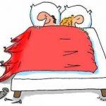 Viñeta de humor: dormir en pareja