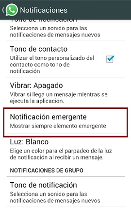 Notificación emergente WhatsApp